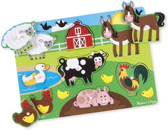 Wooden Small Peg Puzzle - Farm Animals