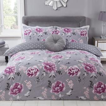 Julian Charles Viola Grey Floral Cotton Rich 180 Thread Count Reversible Duvet Set