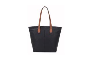 Women's BLACK shoulder tote handbag with Handle and Soft faux Leather   ladies shopper   L&S288-1