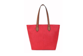 Women's RED shoulder tote handbag with Handle and Soft faux Leather   ladies shopper   L&S288-1