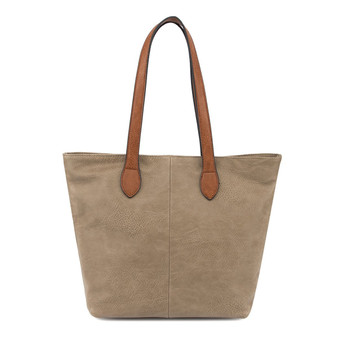 Women's TAUPE shoulder tote handbag with Handle and Soft faux Leather   ladies shopper   GES-G1145