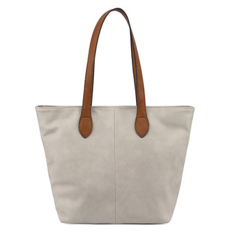 Women's LIGHT GREY shoulder tote handbag with Handle and Soft faux Leather   ladies shopper   GES-G1145