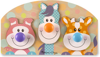Melissa & Doug First Play Wooden Jumbo Peg Farm Animal Puzzle (3 pcs) - 13440