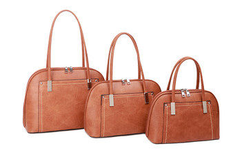 Women's BROWN, faux Leather handbag with loop handles | L&S-G615