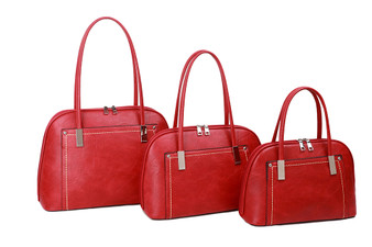 Women's RED, faux Leather handbag with loop handles | L&S-G615