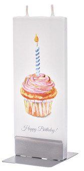 Flatyz Twin Wick Hand Painted Flat Candle - Happy Greetings cupcake
