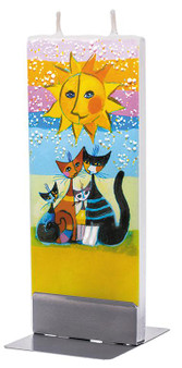 Flatyz Twin Wick Hand Painted Flat Candle - Cats family under the sun