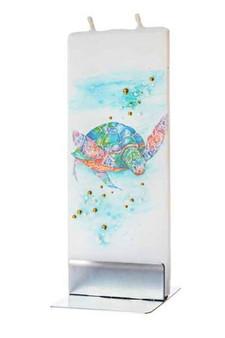 Flatyz Twin Wick Hand Painted Flat Candle - Sea Turtle
