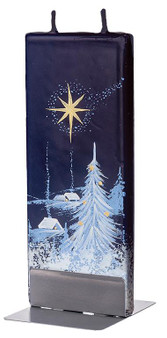 Flatyz Twin Wick Hand Painted Flat Candle - Christmas Night With A Star