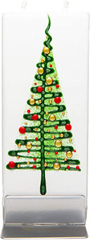 Flatyz Twin Wick Hand Painted Flat Candle - Green Holiday tree & red balls