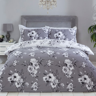 Julian Charles Evelyn Grey Floral Printed Cotton Rich 180 Thread Count Reversible Duvet Set