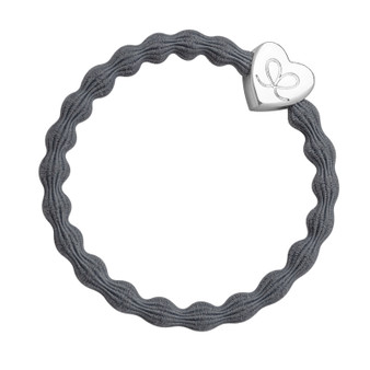 By Eloise Hair Bobble / Band & Bracelet - Storm Grey Band - Silver Heart - 2-016