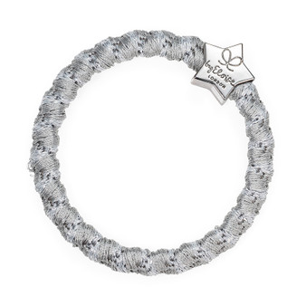 By Eloise Hair Bobble / Band & Bracelet - Woven Silver Shimmer Band - Silver Star - WS-2-084