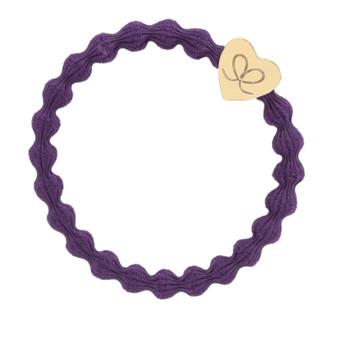 By Eloise Hair Bobble / Band & Bracelet - Purple Band - Gold Heart - 1-064