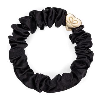 By Eloise Hair Bobble / Band & Bracelet - Black Silk Scrunchie - Gold Heart - S-1-001