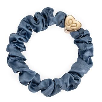 By Eloise Hair Bobble / Band & Bracelet - Faded Denim Silk Scrunchie - Gold Heart - S-1-100