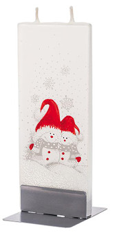 Flatyz Twin Wick Hand Painted Flat Candle - Two Snowmen and Red Hats