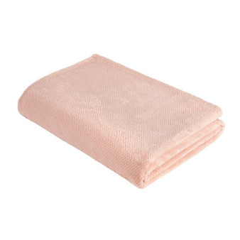 Blush Pink Wakeley Waffle Fleece Throw (150cm x 180cm) - 060668