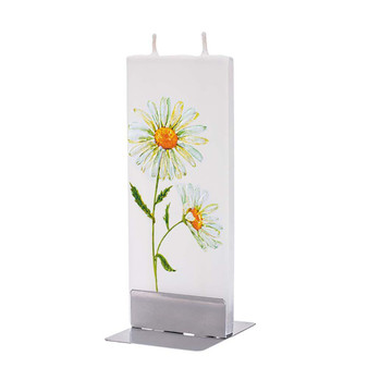 Handmade Flatyz Candle - Two Daisies with Gold - D20052