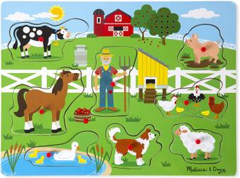 Melissa & Doug Old McDonalds Farm Wooden Sound Peg Puzzle