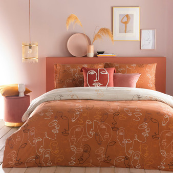 furn Kindred Abstract Faces Duvet Cover Set - Apricot