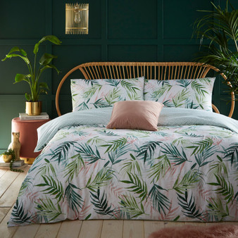 furn Bali Palm Botanical Duvet Cover Set - Green