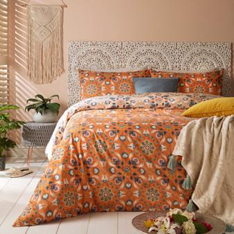 furn Folk Flora Floral Duvet Cover Set - Orange