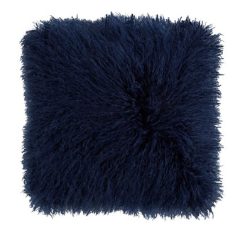 Navy Blue Mongolian Faux Fur Cushion (43cm x 43cm) - 060313