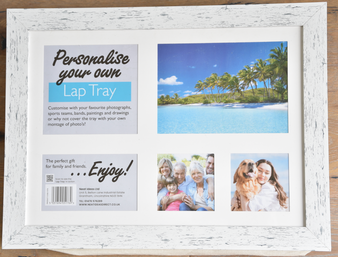 Neat Ideas Cushioned 'Personalise your own Lap Tray' - White Wood (43cm X 32cm)