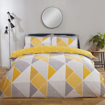 Julian Charles Trinity Ochre Geometric Cotton Rich Reversible Duvet Set