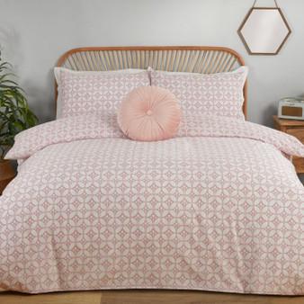 Julian Charles Posey Blush Pink Floral Cotton Rich Reversible Duvet Set