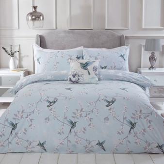 Julian Charles Floral Hummingbird Cotton Rich 180 Thread Count Reversible Duvet Set