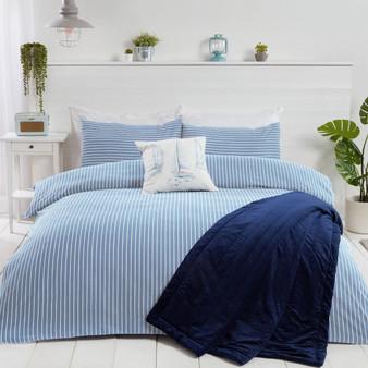 Julian Charles Blue Coastal Striped Duvet Set