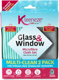 Kleeneze Microfibre Glass & Window Cloths for Cleaning and Removing Bacteria - 2 pack - Grey & Aqua