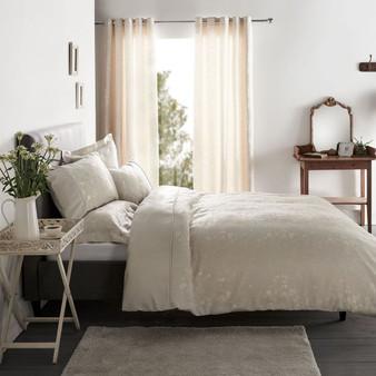Flora Natural Luxury Cotton Rich Jacquard Duvet Cover