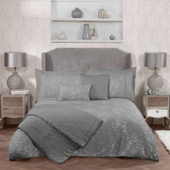 Flora Silver Luxury Cotton Rich Jacquard Duvet Cover