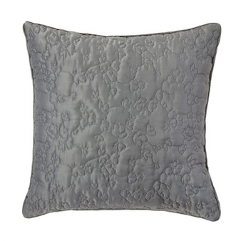 Flora Silver Quilted Filled Square Cushion (45cm x 45cm) - 059961