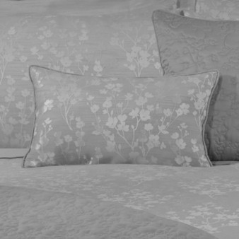 Flora Silver Jacquard Boudoir Cushion (50cm x 30cm) - 059962