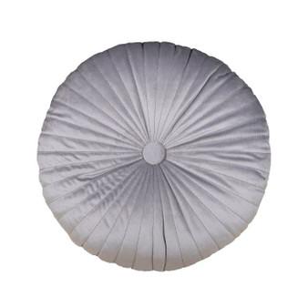 Zara Silver Grey Round Velvet Cushion (45cm Diamter) - 060350