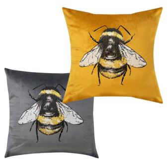 Velvet Bumblebee Embroidered Cushion (45cm x 45cm)