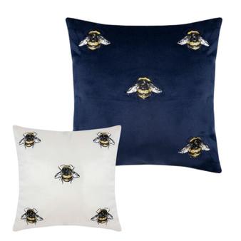 Mini Bee Embroidered Cushion (30x30cm)