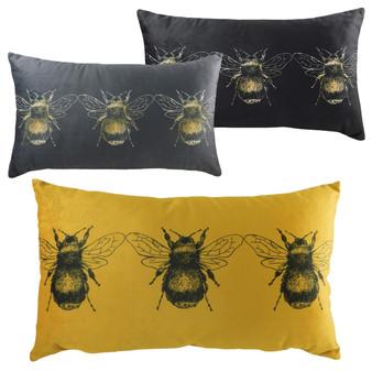 Evans Lichfield Gold Bee Rectangular Velvet Polyester Filled Cushion - 30cm X 50cm