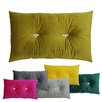 Paoletti Bumble Bee Velvet Polyester Filled Cushion - 30cm X 50cm - with metal bee badges