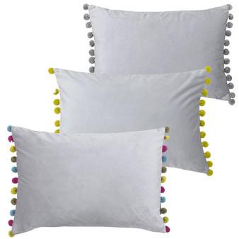 Paoletti Fiesta Velvet Polyester Filled Cushion - 35cm X 50cm - Dove