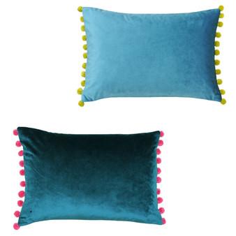 Paoletti Fiesta Velvet Polyester Filled Cushion - 35cm X 50cm - Teal