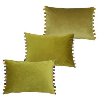 Paoletti Fiesta Velvet Polyester Filled Cushion - 35cm X 50cm - Bamboo