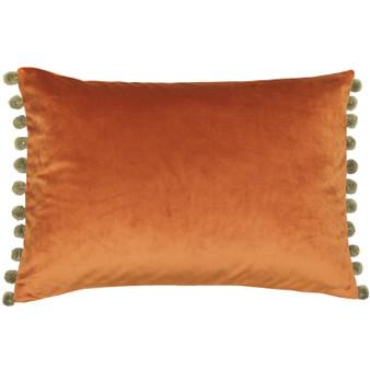 Paoletti Fiesta Velvet Polyester Filled Cushion Rust / Khaki - 35cm X 50cm