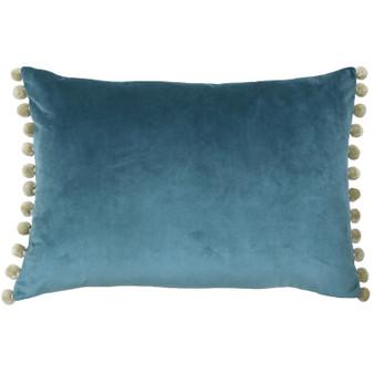 Paoletti Fiesta Velvet Polyester Filled Cushion - Duck Egg / Natural - 35cm X 50cm