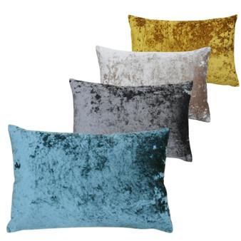 Paoletti Verona Crushed Velvet Polyester Filled Rectangular Cushion  - 40cm X 60cm