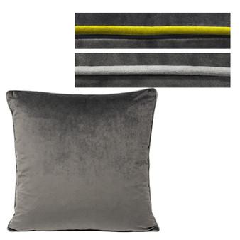 Paoletti Meridian Velvet Polyester Filled Cushion - Charcoal - 55cm X 55cm